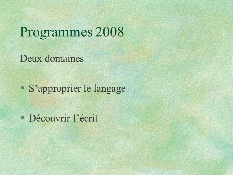 Les programmes de 2008 « S ' approprier le langage » § « Le langage oral est le pivot des apprentissages de l'école maternelle.