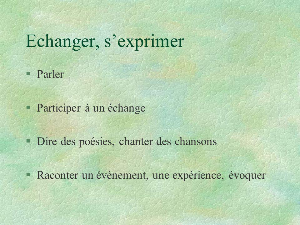 Echanger, s'exprimer § Parler § Participer à un échange § Dire des poésies, chanter des chansons § Raconter un évènement, une expérience, évoquer