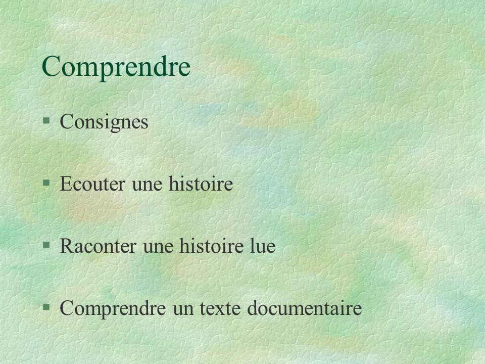 Comprendre § Consignes § Ecouter une histoire § Raconter une histoire lue § Comprendre un texte documentaire