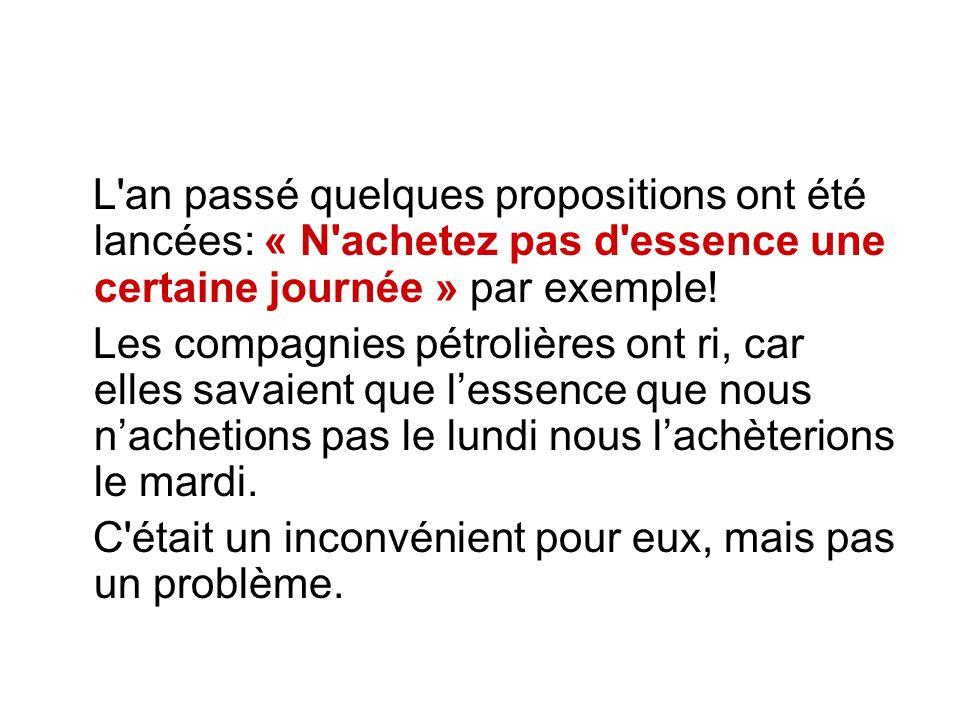 L an passé quelques propositions ont été lancées: « N achetez pas d essence une certaine journée » par exemple.