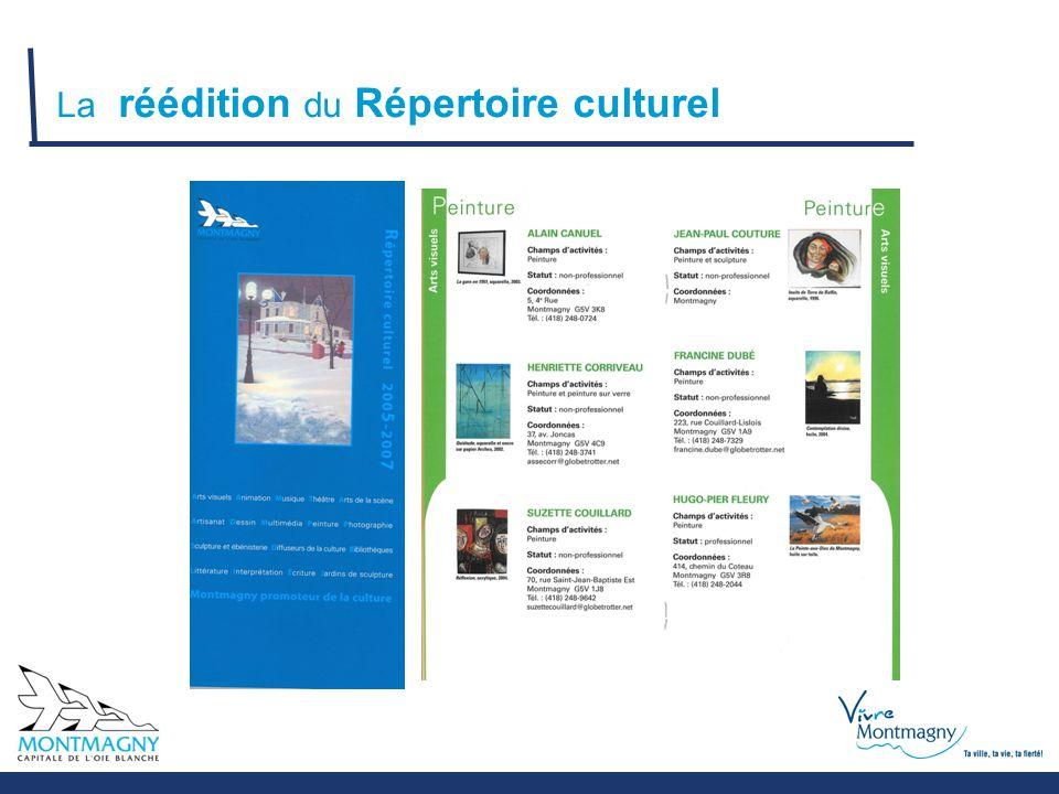 La réédition du Répertoire culturel