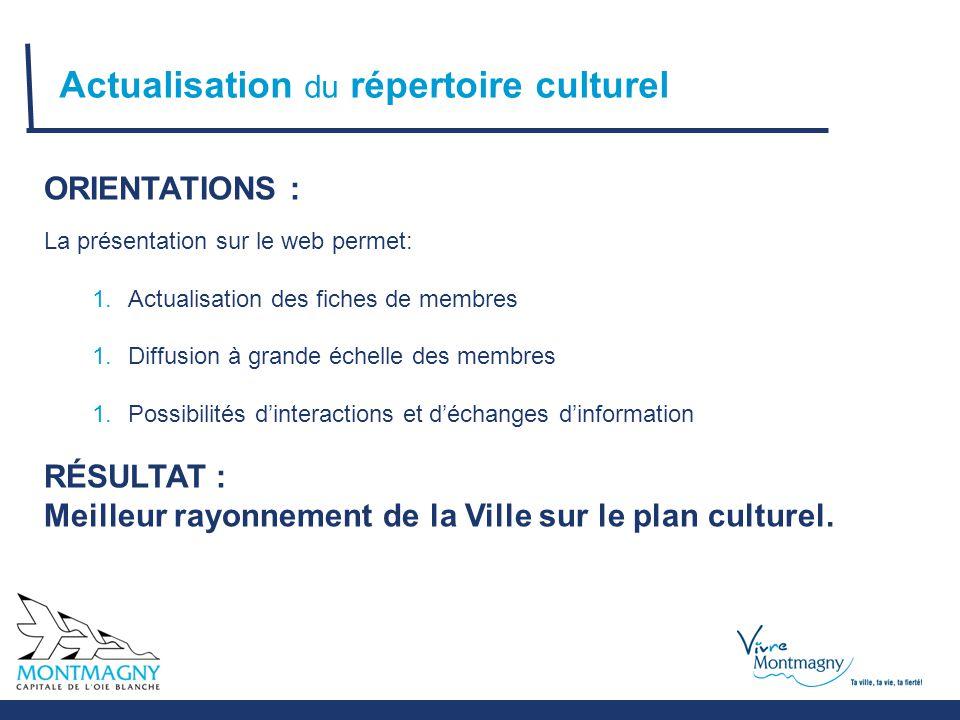 Actualisation du répertoire culturel ORIENTATIONS : La présentation sur le web permet: 1.Actualisation des fiches de membres 1.Diffusion à grande échelle des membres 1.Possibilités d'interactions et d'échanges d'information RÉSULTAT : Meilleur rayonnement de la Ville sur le plan culturel.