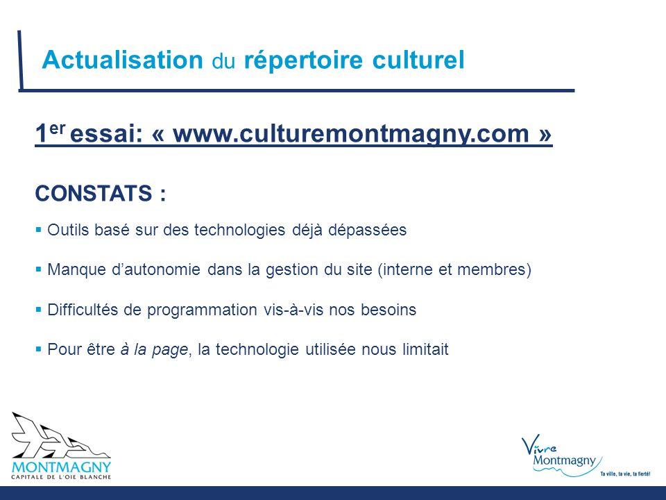 Actualisation du répertoire culturel 1 er essai: « www.culturemontmagny.com » CONSTATS :  Outils basé sur des technologies déjà dépassées  Manque d'autonomie dans la gestion du site (interne et membres)  Difficultés de programmation vis-à-vis nos besoins  Pour être à la page, la technologie utilisée nous limitait