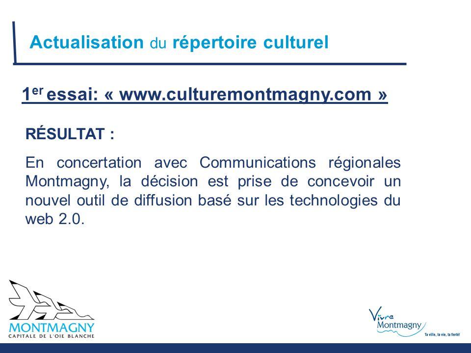 Actualisation du répertoire culturel 1 er essai: « www.culturemontmagny.com » RÉSULTAT : En concertation avec Communications régionales Montmagny, la décision est prise de concevoir un nouvel outil de diffusion basé sur les technologies du web 2.0.