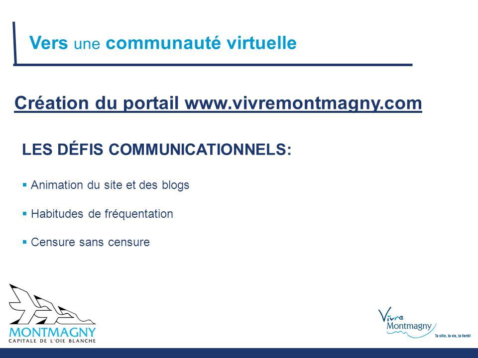 LES DÉFIS COMMUNICATIONNELS:  Animation du site et des blogs  Habitudes de fréquentation  Censure sans censure Vers une communauté virtuelle Création du portail www.vivremontmagny.com