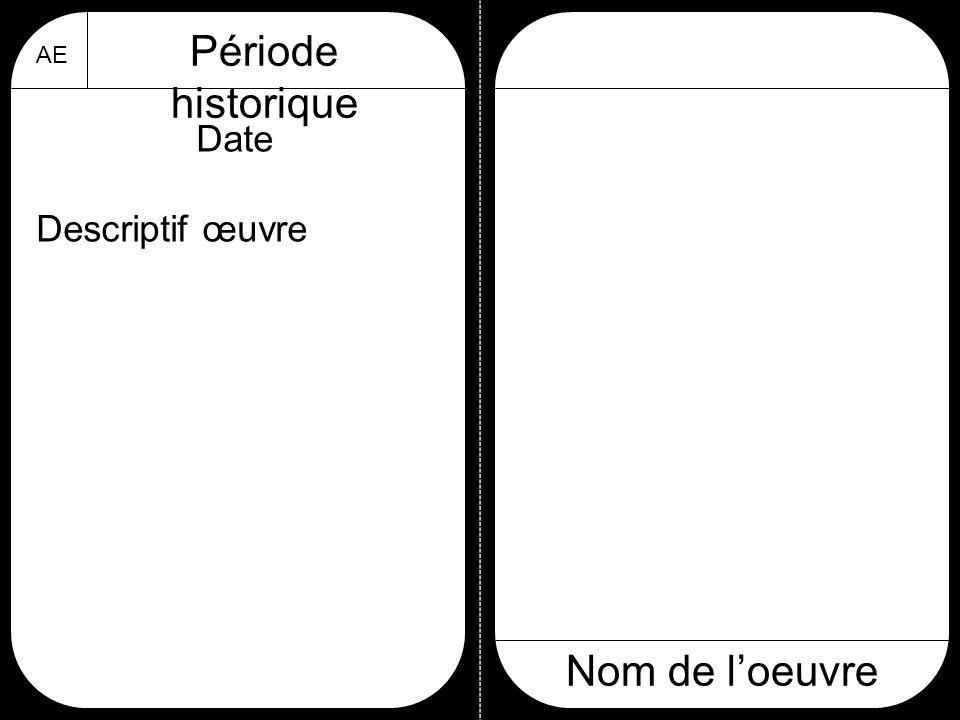 AE Période historique Nom de l'oeuvre Date Descriptif œuvre