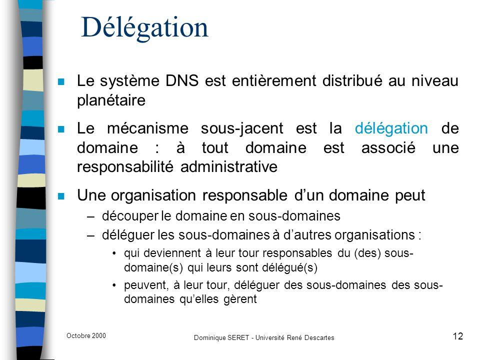 Octobre 2000 Dominique SERET - Université René Descartes 12 Délégation n Le système DNS est entièrement distribué au niveau planétaire n Le mécanisme