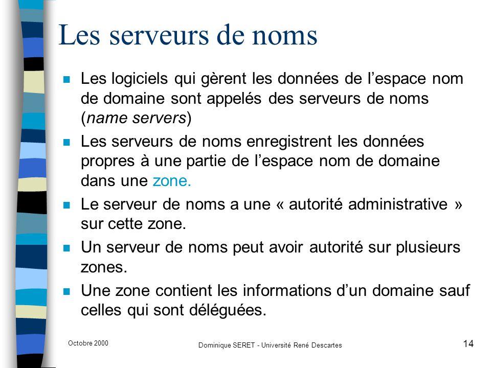 Octobre 2000 Dominique SERET - Université René Descartes 14 Les serveurs de noms n Les logiciels qui gèrent les données de l'espace nom de domaine son