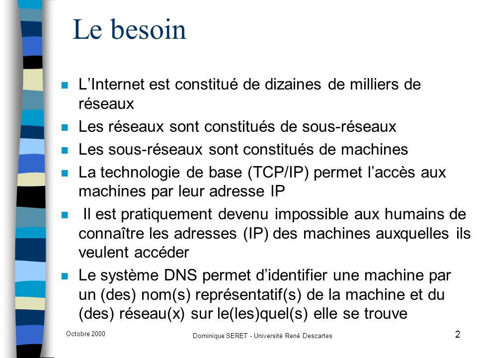Octobre 2000 Dominique SERET - Université René Descartes 13 Délégation n Le domaine parent contient alors seulement un pointeur vers le sous-domaine délégué –univ-paris5.fr (en théorie) pourrait être géré par l'organisation responsable du domaine.fr qui gèrerait alors les données de univ-paris5.fr –univ-paris5.fr est délégué à l'organisation Université Paris 5 qui gère donc les données propres à son domaine –math-info.univ-paris5.fr est délégué à l'organisation UFR Mathématiques et Informatique qui gère donc les données propres à son domaine