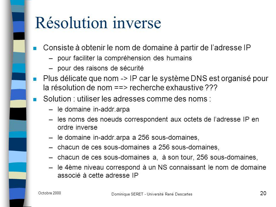 Octobre 2000 Dominique SERET - Université René Descartes 20 Résolution inverse n Consiste à obtenir le nom de domaine à partir de l'adresse IP –pour f