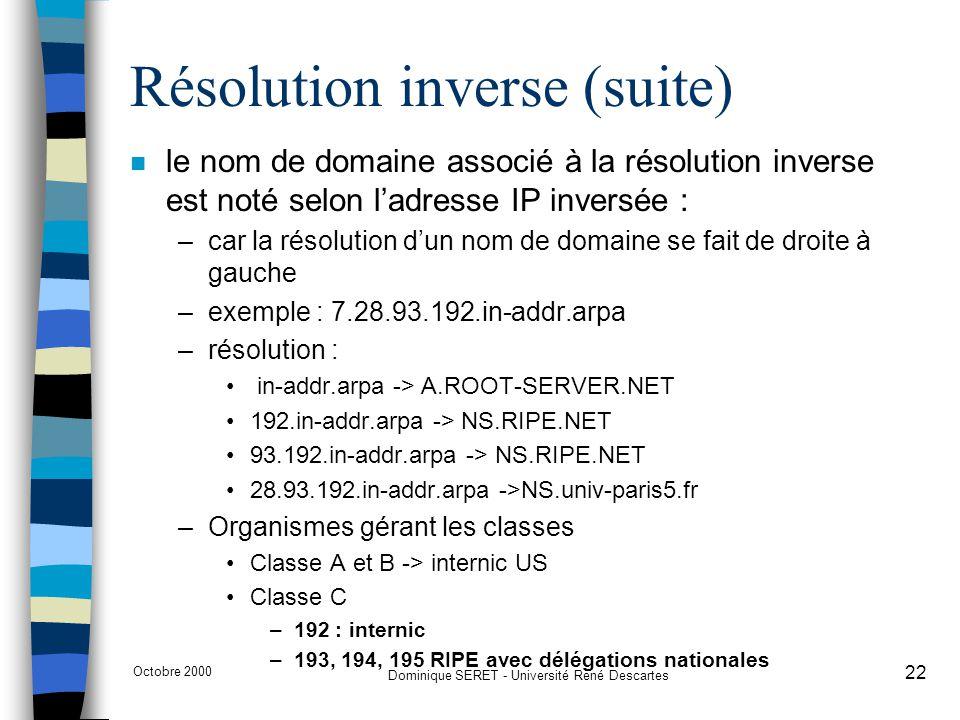 Octobre 2000 Dominique SERET - Université René Descartes 22 Résolution inverse (suite) n le nom de domaine associé à la résolution inverse est noté se