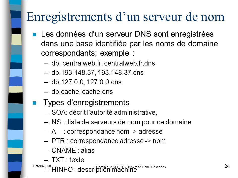 Octobre 2000 Dominique SERET - Université René Descartes 24 Enregistrements d'un serveur de nom n Les données d'un serveur DNS sont enregistrées dans