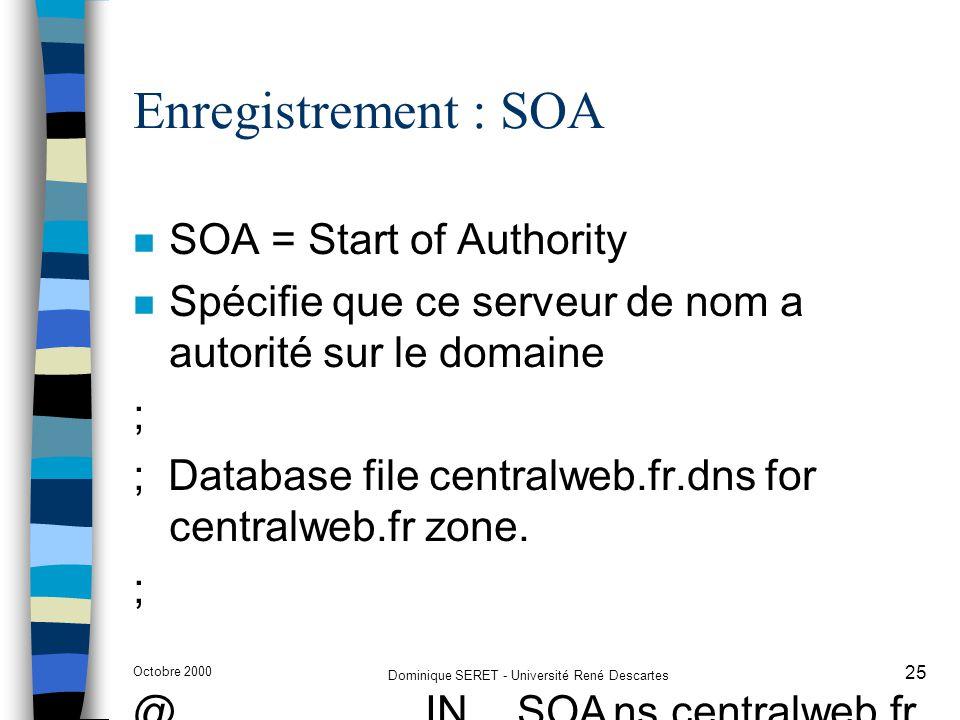 Octobre 2000 Dominique SERET - Université René Descartes 25 Enregistrement : SOA n SOA = Start of Authority n Spécifie que ce serveur de nom a autorit
