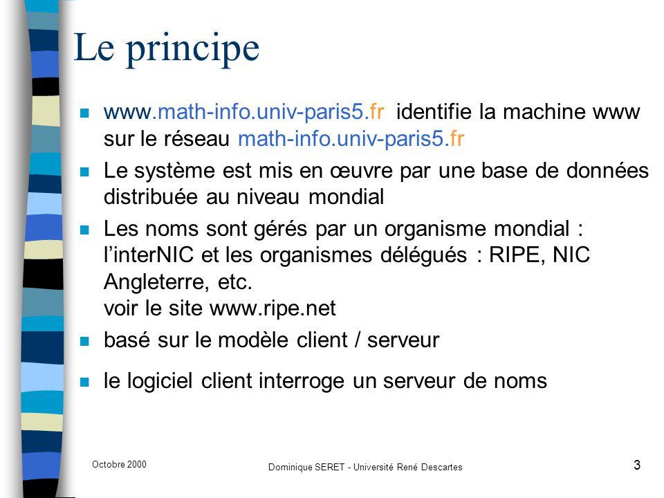 Octobre 2000 Dominique SERET - Université René Descartes 14 Les serveurs de noms n Les logiciels qui gèrent les données de l'espace nom de domaine sont appelés des serveurs de noms (name servers) n Les serveurs de noms enregistrent les données propres à une partie de l'espace nom de domaine dans une zone.