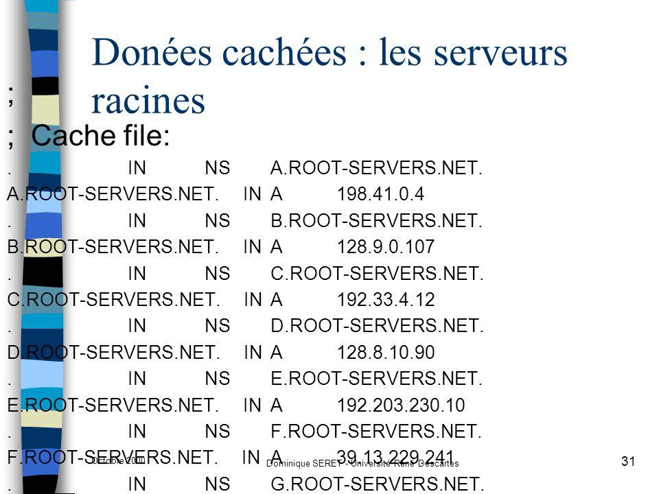 Octobre 2000 Dominique SERET - Université René Descartes 31 Donées cachées : les serveurs racines ; ; Cache file:. INNSA.ROOT-SERVERS.NET. A.ROOT-SERV