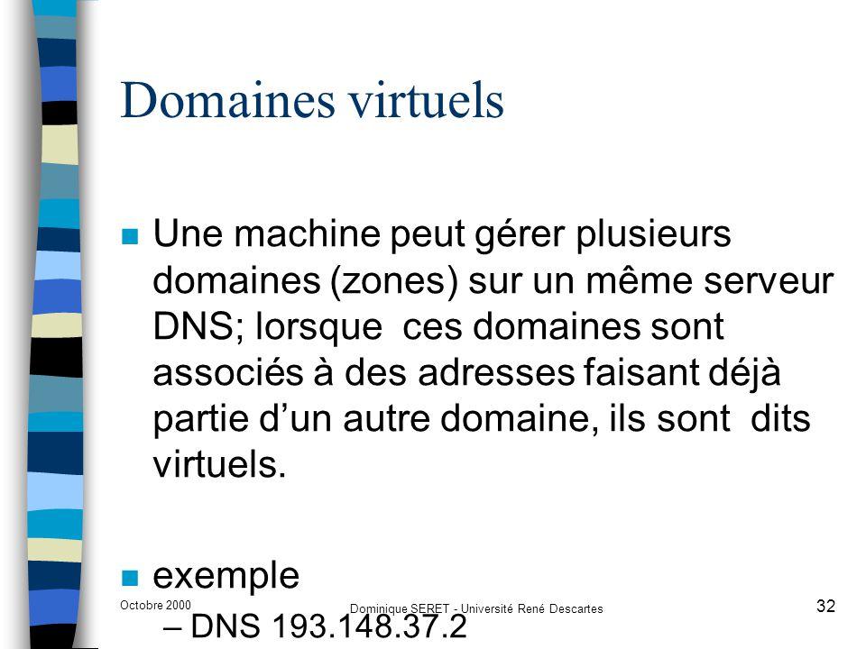Octobre 2000 Dominique SERET - Université René Descartes 32 Domaines virtuels n Une machine peut gérer plusieurs domaines (zones) sur un même serveur