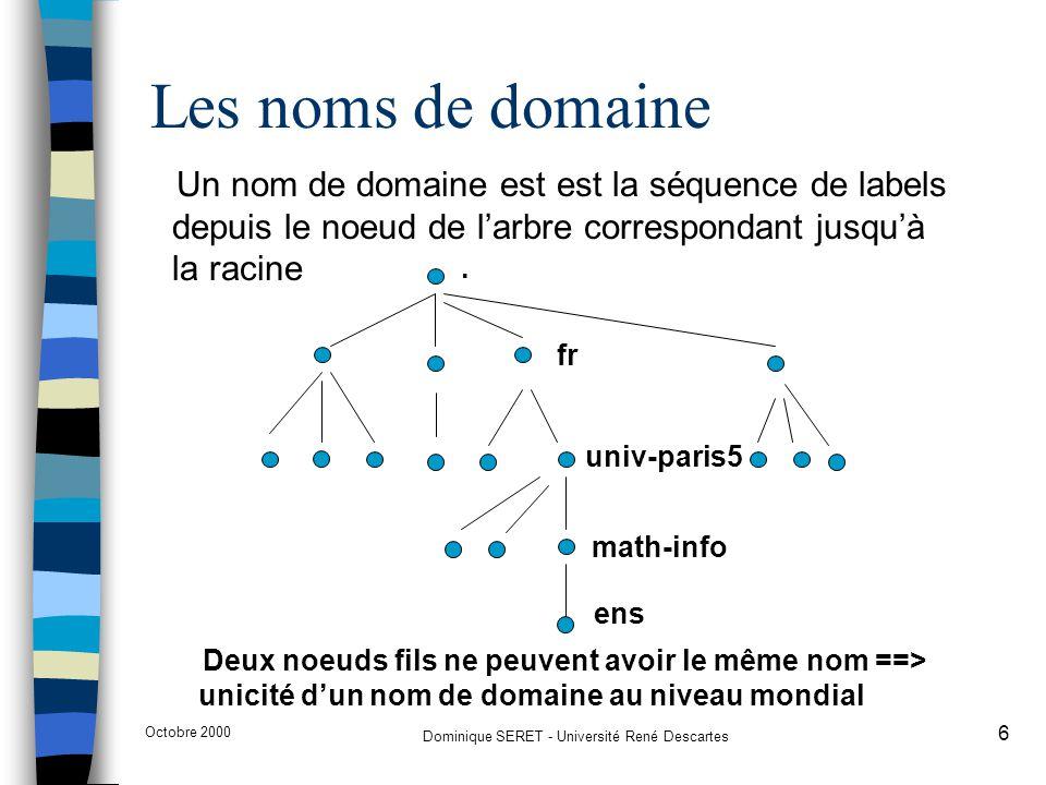 Octobre 2000 Dominique SERET - Université René Descartes 17 Résolution de noms n Les «resolvers» sont les processus clients qui contactent les serveurs de noms n ils contactent un serveur (dont l'(les) adresse(s) est (sont) configurée(s) sur sa machine), interprète les réponses, retourne l'information au logiciel appelant et gère un cache (selon la mise en œuvre) n Le serveur serveur de noms interroge également d'autres serveurs de noms, lorsqu'il n'a pas autorité sur la zone requise (fonctionnement itératif ou récursif) n Si le serveur de noms est en dehors du domaine requis, il peut être amené à contacter un serveur racine