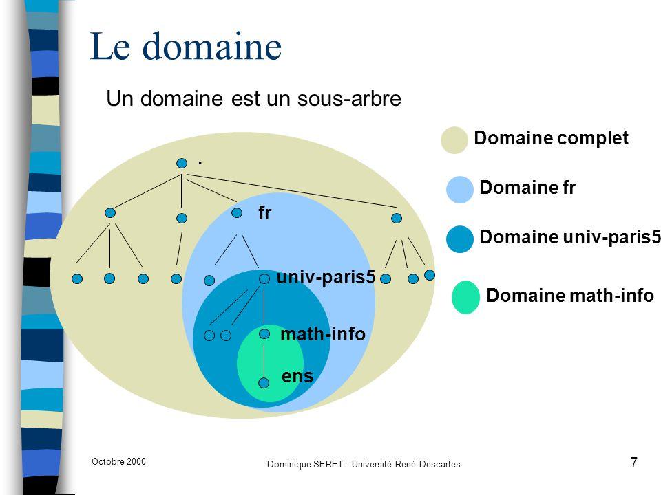 Octobre 2000 Dominique SERET - Université René Descartes 8 n le domaine fr comprend le noeud fr et tous les noeuds contenus dans tous les sous-domaines de fr n Un nom de domaine est un index dans la base DNS –diamant.ens.math-info.univ-paris5.fr pointe vers une adresse IP –math-info.univ-paris5.fr pointe vers des informations de routage, de courrier électronique et éventuellement des informations de sous- domaines –univ-paris5.fr pointe vers des informations de routage, de courrier électronique et éventuellement des informations de sous- domaines –fr pointe vers des informations structurelles de sous- domaines Domaines et sous-domaines