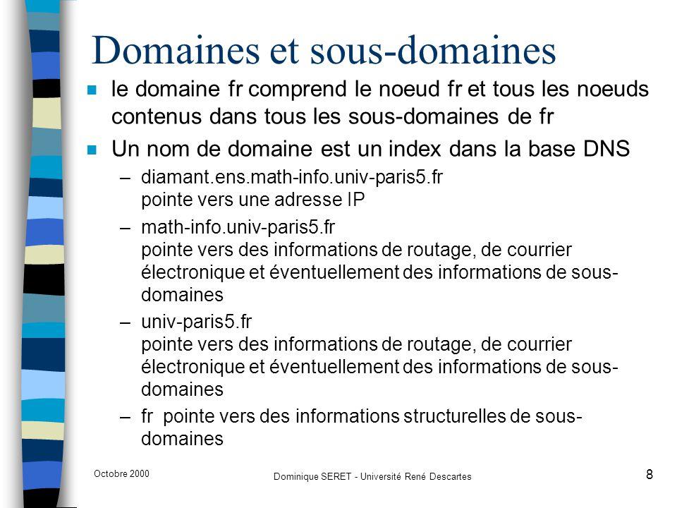 Octobre 2000 Dominique SERET - Université René Descartes 8 n le domaine fr comprend le noeud fr et tous les noeuds contenus dans tous les sous-domaine