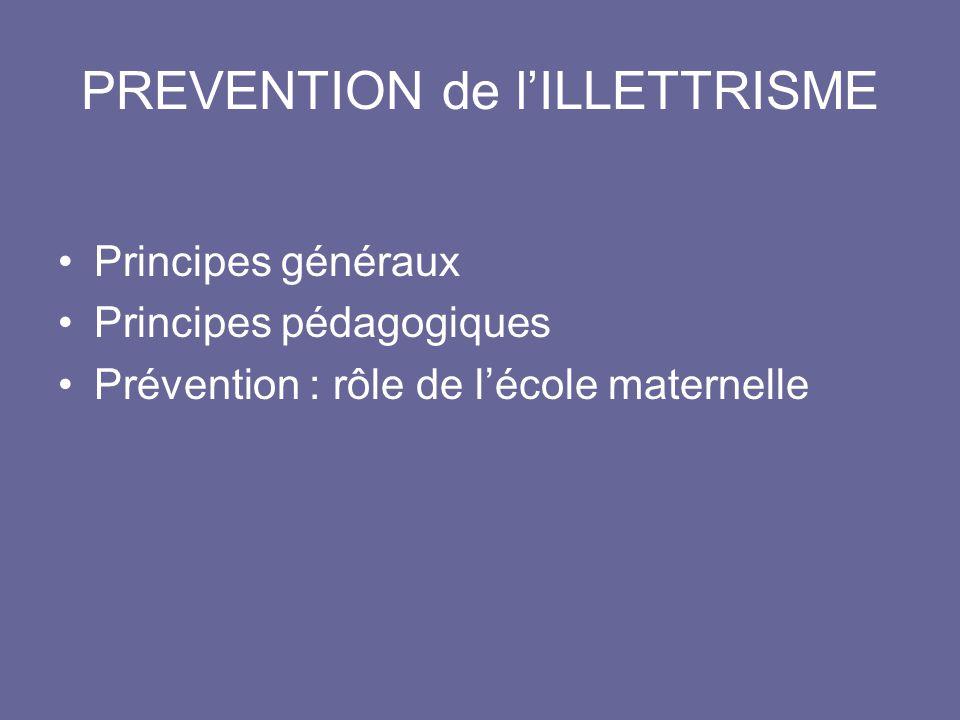 PREVENTION de l'ILLETTRISME •Principes généraux •Principes pédagogiques •Prévention : rôle de l'école maternelle