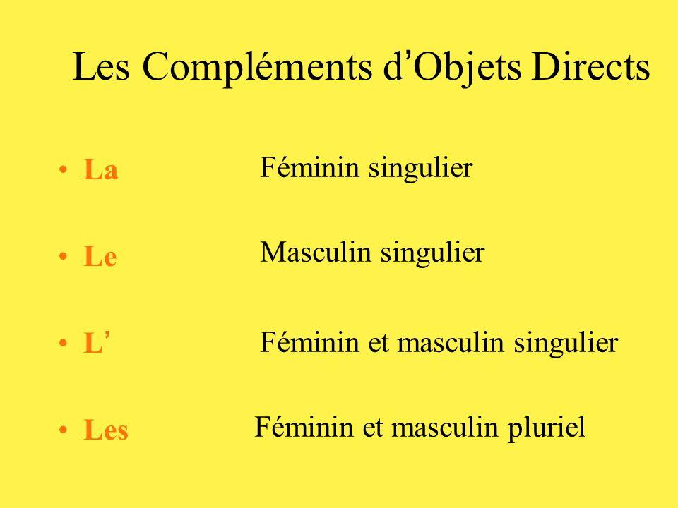 Les Compléments d ' Objets Directs •La •Le •L ' •Les Féminin singulier Masculin singulier Féminin et masculin singulier Féminin et masculin pluriel
