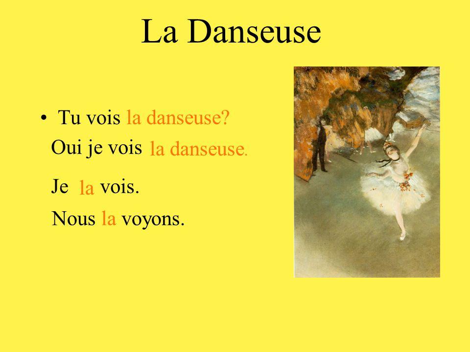 La Danseuse •Tu vois la danseuse Oui je vois la danseuse. Je vois. la Nous la voyons.