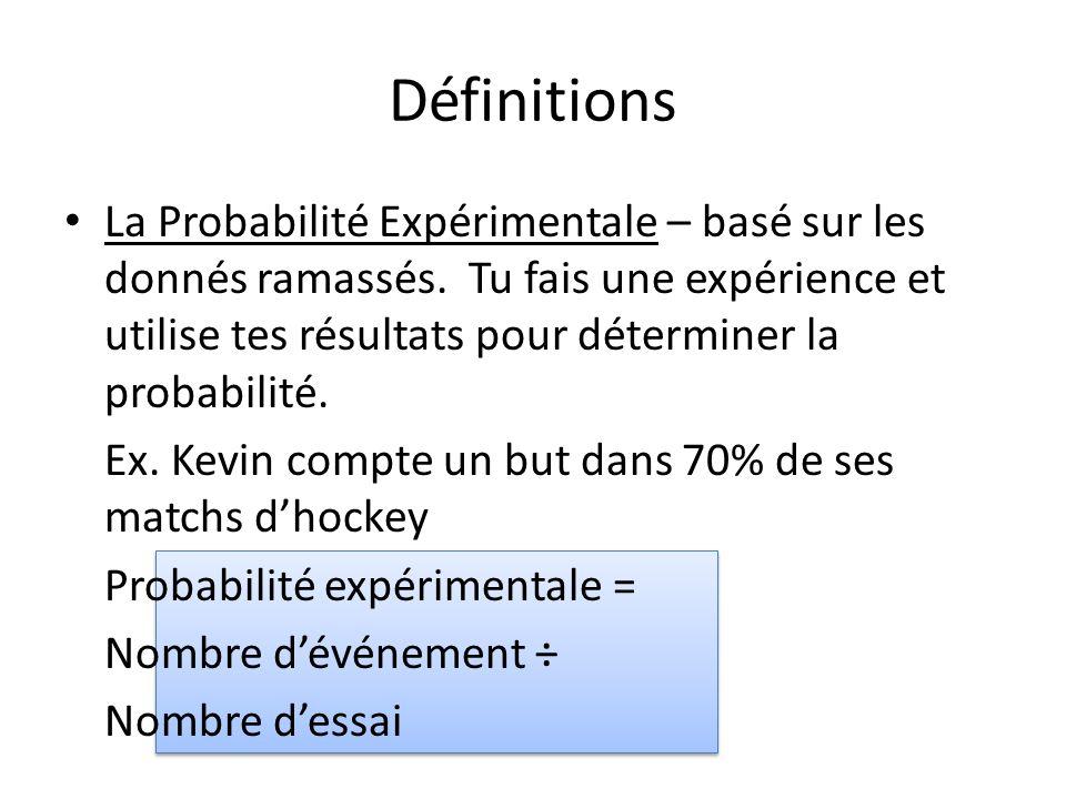• La Probabilité Expérimentale – basé sur les donnés ramassés. Tu fais une expérience et utilise tes résultats pour déterminer la probabilité. Ex. Kev