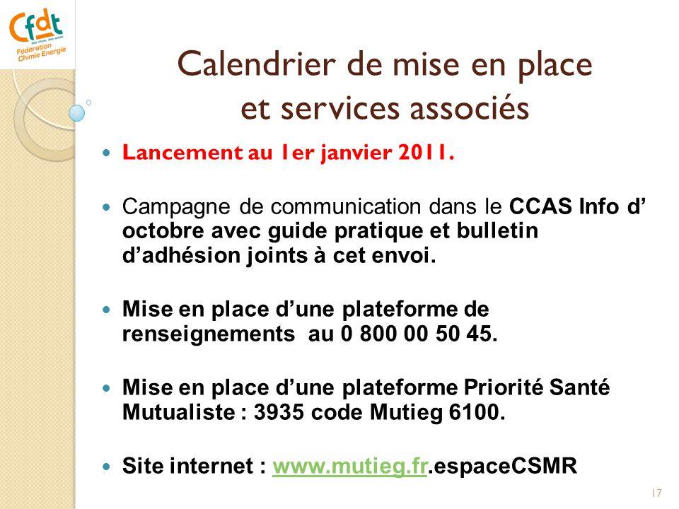 Calendrier de mise en place et services associés  Lancement au 1er janvier 2011.  Campagne de communication dans le CCAS Info d' octobre avec guide