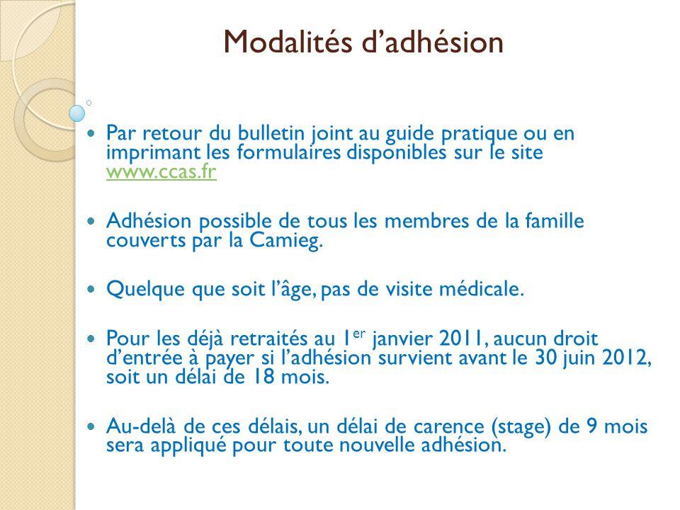 Modalités d'adhésion  Par retour du bulletin joint au guide pratique ou en imprimant les formulaires disponibles sur le site www.ccas.fr www.ccas.fr