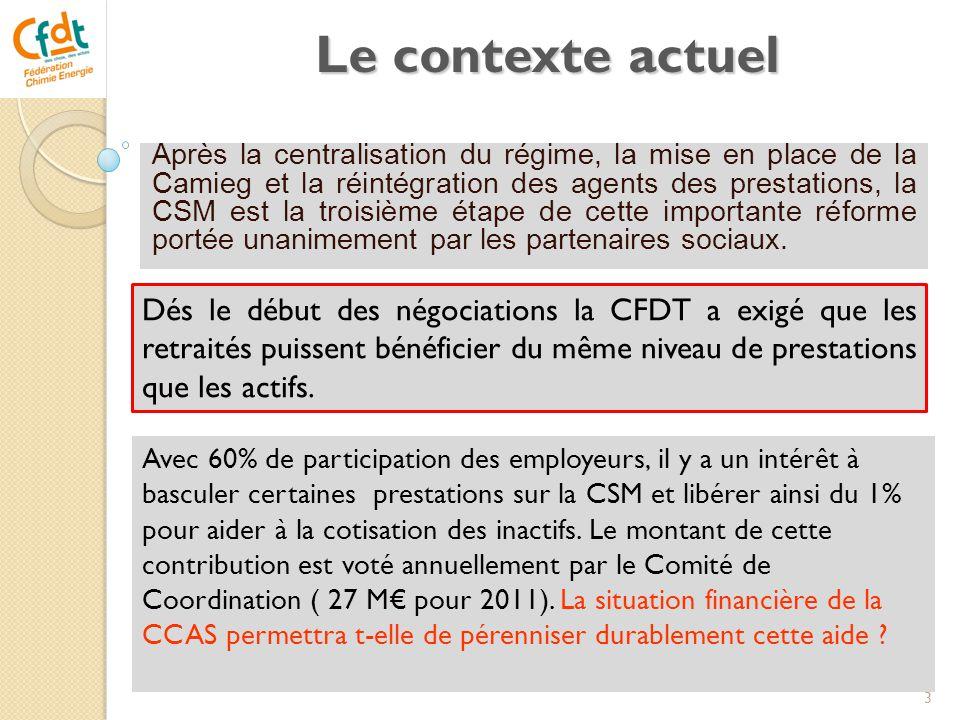 Le contexte actuel Après la centralisation du régime, la mise en place de la Camieg et la réintégration des agents des prestations, la CSM est la troi