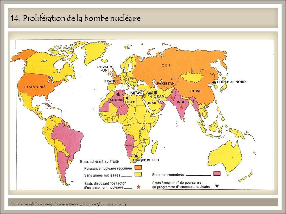 14. Prolifération de la bombe nucléaire Histoire des relations internationales – 1945 à nos jours – Christopher Goscha
