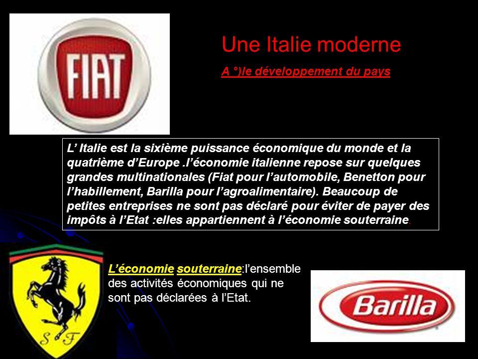 L' Italie est la sixième puissance économique du monde et la quatrième d'Europe.l'économie italienne repose sur quelques grandes multinationales (Fiat