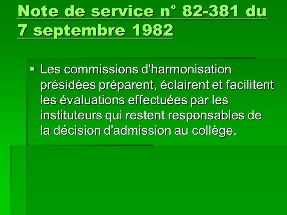  Les commissions d'harmonisation présidées préparent, éclairent et facilitent les évaluations effectuées par les instituteurs qui restent responsable
