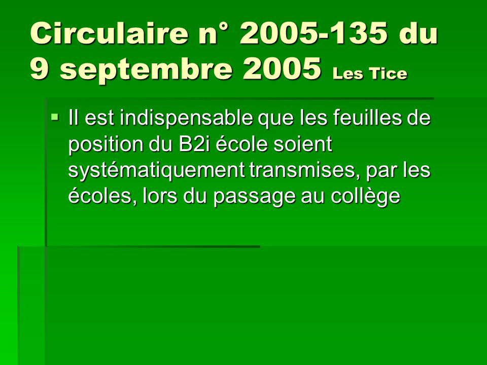 Circulaire n° 2005-135 du 9 septembre 2005 Les Tice  Il est indispensable que les feuilles de position du B2i école soient systématiquement transmise