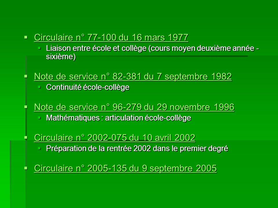  Circulaire n° 77-100 du 16 mars 1977 Circulaire n° 77-100 du 16 mars 1977 Circulaire n° 77-100 du 16 mars 1977  Liaison entre école et collège (cou