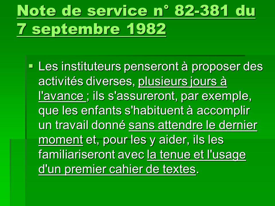Note de service n° 82-381 du 7 septembre 1982 Note de service n° 82-381 du 7 septembre 1982  Les instituteurs penseront à proposer des activités dive
