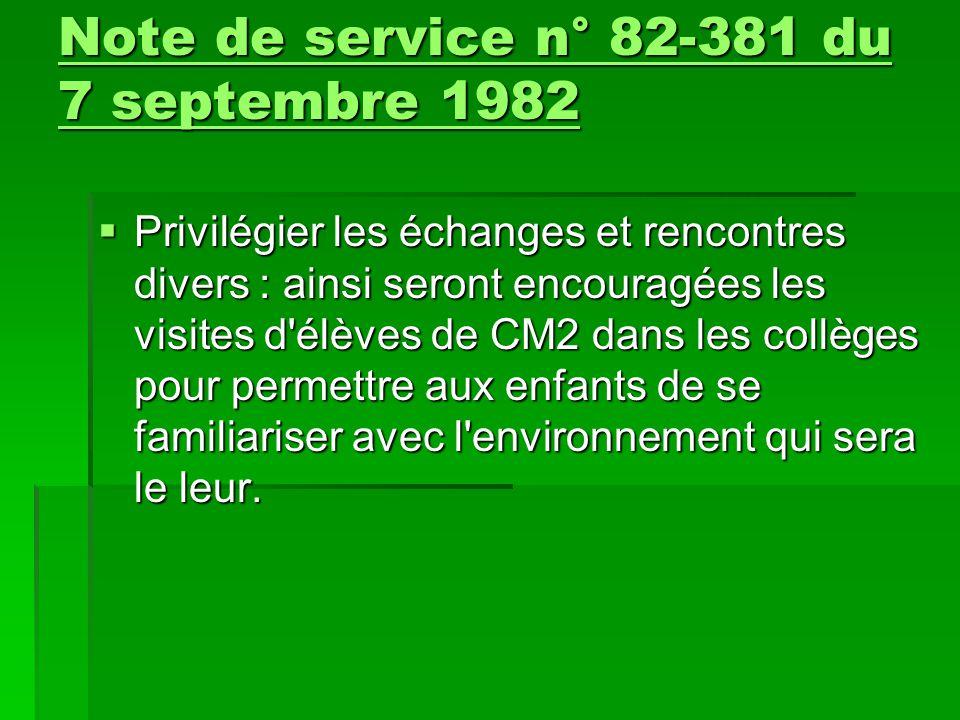  Des correspondances de classe à classe, d élève à élève, peuvent également favoriser l'adaptation au collège Note de service n° 82-381 du 7 septembre 1982 Note de service n° 82-381 du 7 septembre 1982