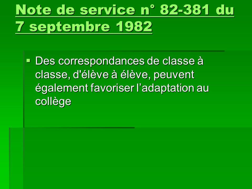  Des correspondances de classe à classe, d'élève à élève, peuvent également favoriser l'adaptation au collège Note de service n° 82-381 du 7 septembr