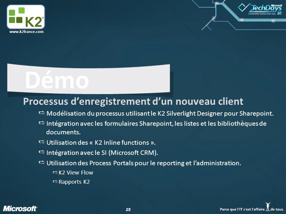 15 www.k2france.com Démo Processus d'enregistrement d'un nouveau client Modélisation du processus utilisant le K2 Silverlight Designer pour Sharepoint.