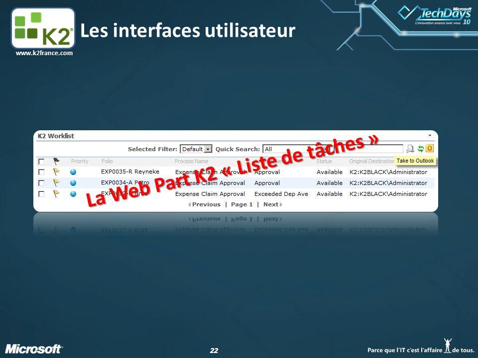 22 www.k2france.com Les interfaces utilisateur La Web Part K2 « Liste de tâches »