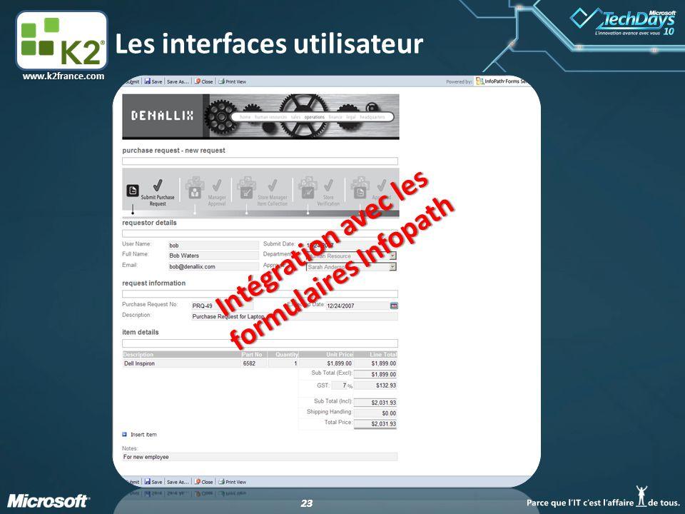 23 www.k2france.com Les interfaces utilisateur Intégration avec les formulaires Infopath