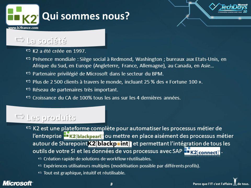 14 www.k2france.com En résumé… K2 blackpoint permet de mettre en place rapidement et sans développement des workflow : De tous types (processus métiers, verticaux, transverses, etc…) En s'appuyant et en fournissant des intégrations avancées avec Sharepoint (v2003 à v2010) Et en apportant de la valeur ajoutée à tout le reste de votre SI.