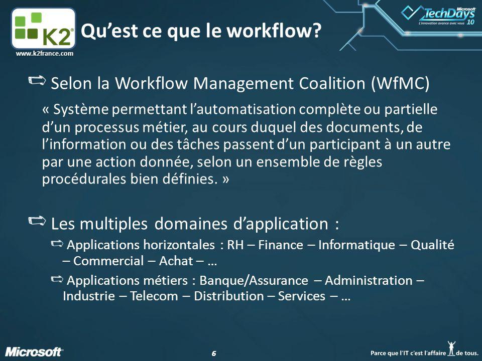 66 www.k2france.com Qu'est ce que le workflow.