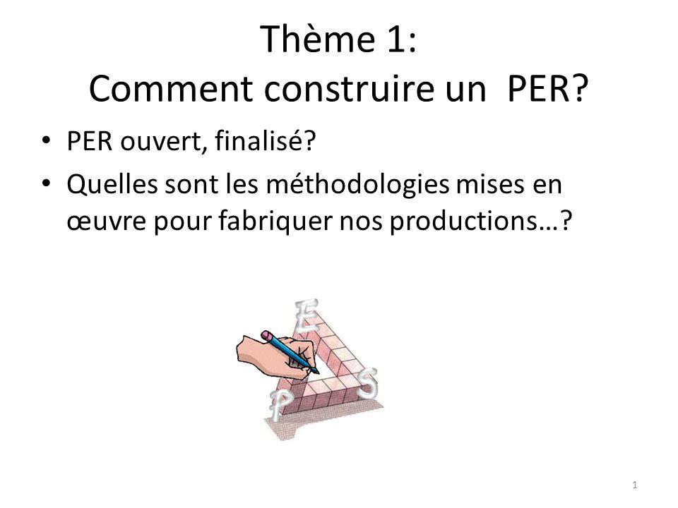 Thème 1: Comment construire un PER. • PER ouvert, finalisé.