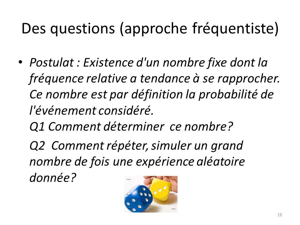 Des questions (approche fréquentiste) • Postulat : Existence d un nombre fixe dont la fréquence relative a tendance à se rapprocher.