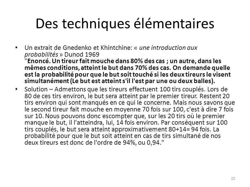 Des techniques élémentaires • Un extrait de Gnedenko et Khintchine: « une introduction aux probabilités » Dunod 1969 Enoncé.