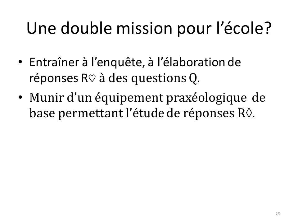 Une double mission pour l'école.