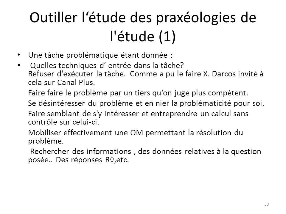 Outiller l'étude des praxéologies de l étude (1) • Une tâche problématique étant donnée : • Quelles techniques d' entrée dans la tâche.