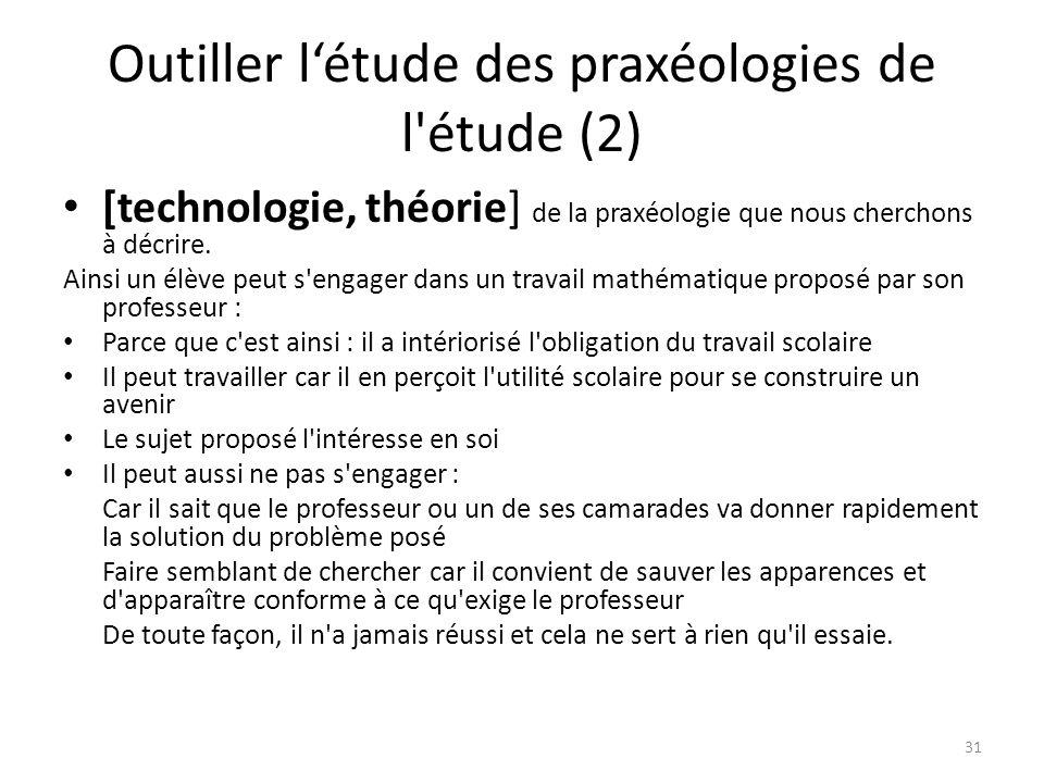 Outiller l'étude des praxéologies de l étude (2) • [technologie, théorie] de la praxéologie que nous cherchons à décrire.