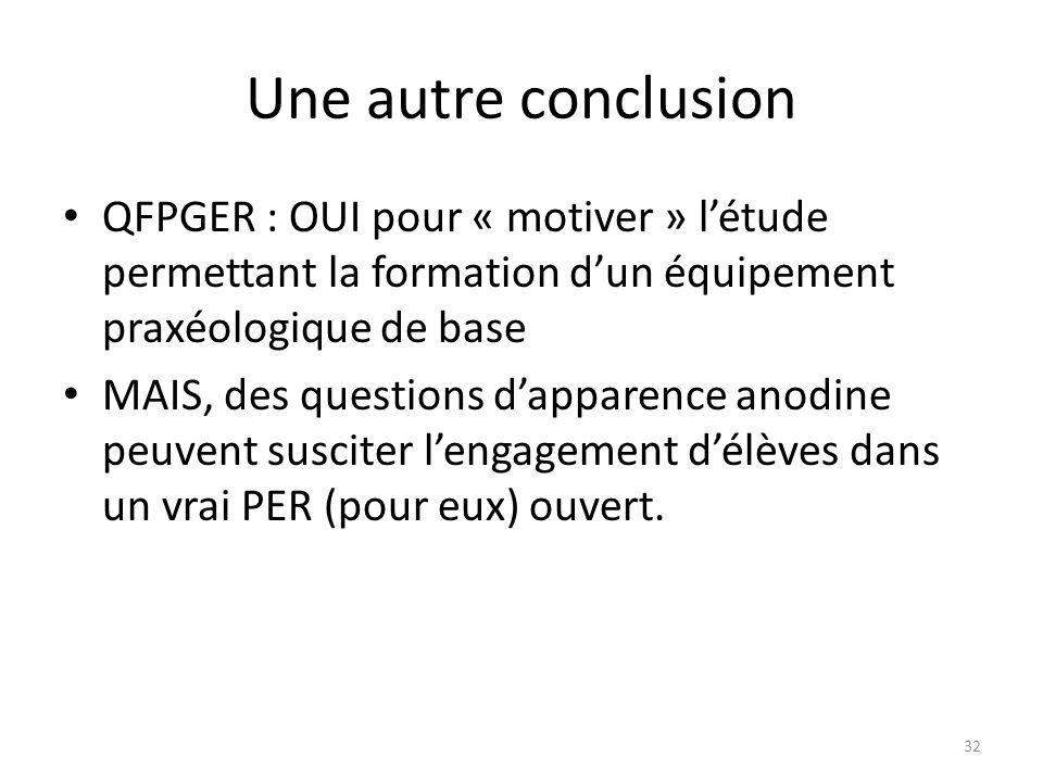 Une autre conclusion • QFPGER : OUI pour « motiver » l'étude permettant la formation d'un équipement praxéologique de base • MAIS, des questions d'apparence anodine peuvent susciter l'engagement d'élèves dans un vrai PER (pour eux) ouvert.